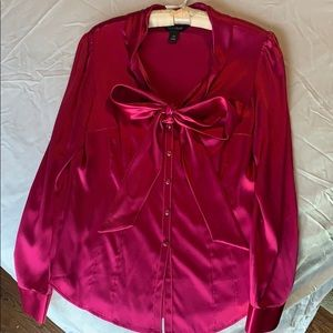 White House|Black Market Pink Silk Blouse